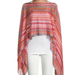 Missoni stripe knit poncho in red 100% viscose NWT